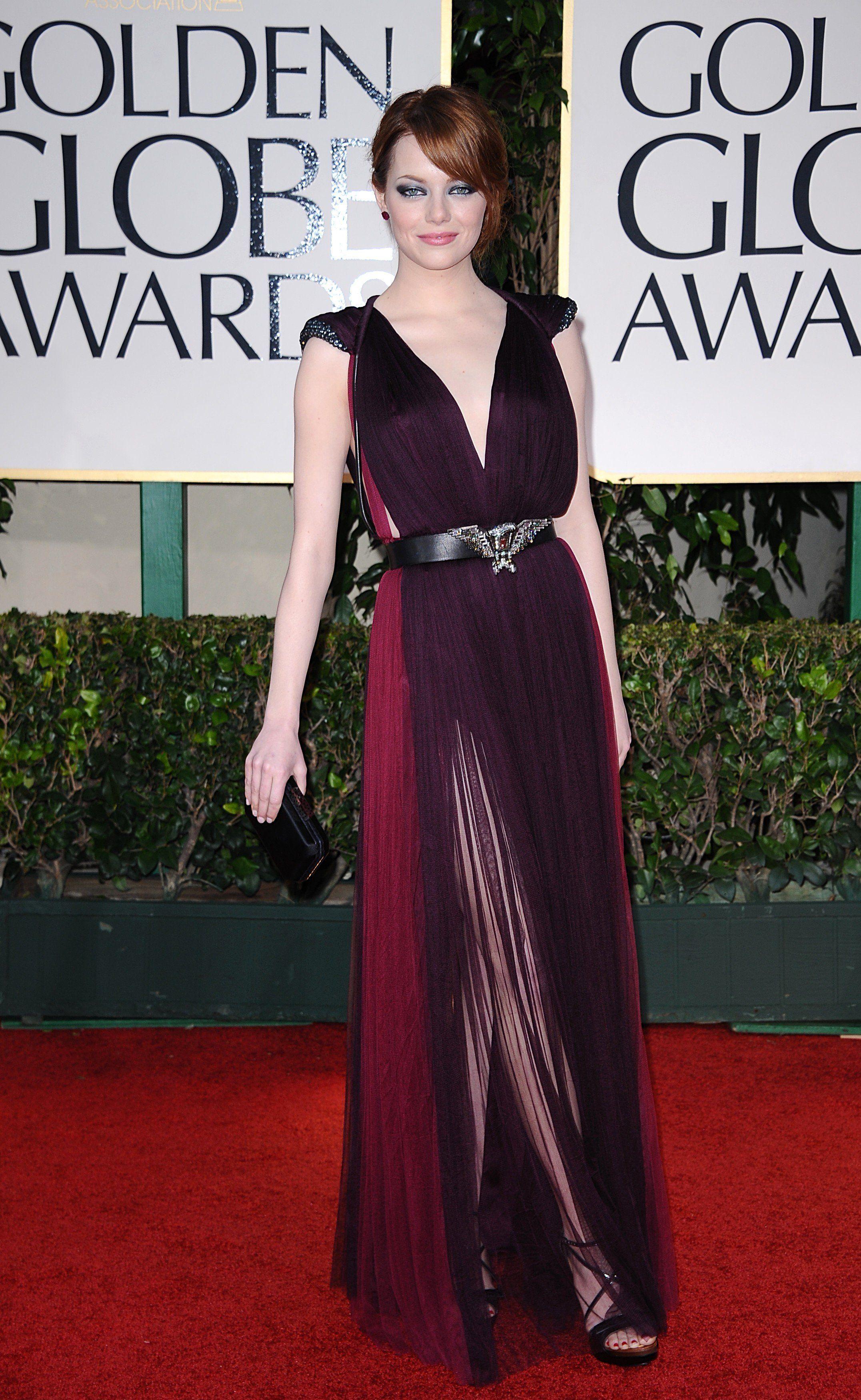 2012 Golden Globes Best Dressed | Glimmer & Shimmer  Emma Stone Golden Globes